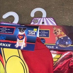 NWT Set of Superman & Wonder Woman Dog Costumes